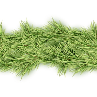 Christmas seamless garland of fir branches. and also includes