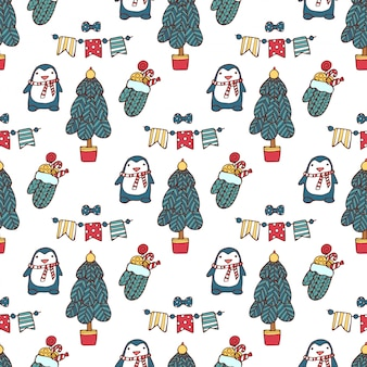 Christmas seamless hand drawn pattern