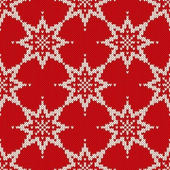 Рождество бесшовные вязаные модели со снежинками. рождество и новогодний фон.