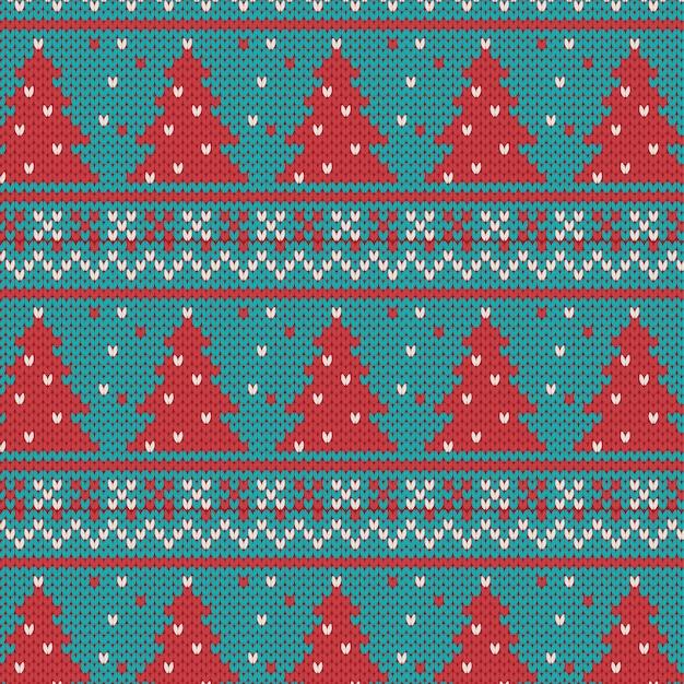 Рождественский бесшовный вязаный образец