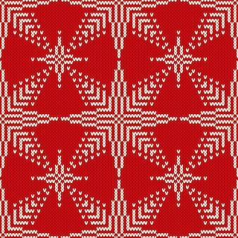 Рождественский бесшовный вязаный свитер дизайн со звездами. векторный фон