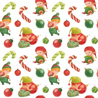 Christmas seamless pattern, baby elves with glass baubles and candy canes