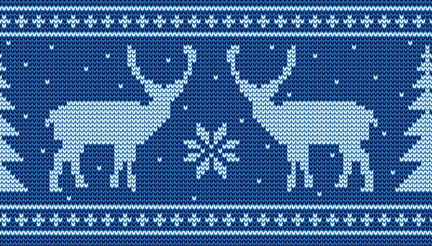Christmas seamless pattern background with deer and pine tree