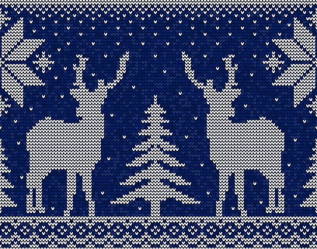 Christmas seamless pattern background with deers, snowflakes and pine trees