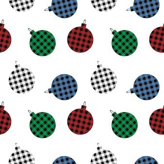 Рождественские шары бесшовные модели с клетчатым орнаментом buffalo в красном, зеленом, синем и черном