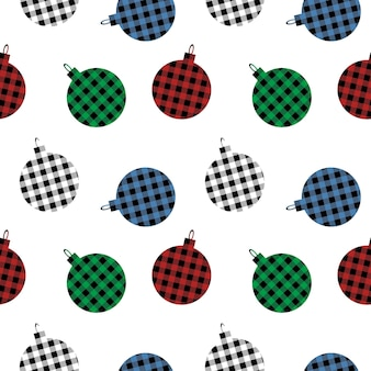 Christmas seamless pattern balls with buffalo plaid ornament in red green blue and black