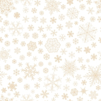 Christmas seamless pattern of big and small snowflakes, brown on white