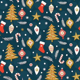 Christmas seamless pattern on blue background