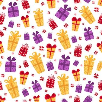 クリスマスのシームレスなパターン-明るくカラフルなギフトボックス