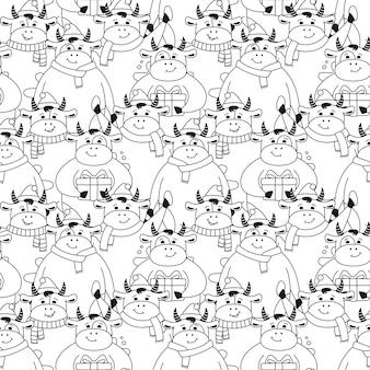 Christmas seamless pattern bull