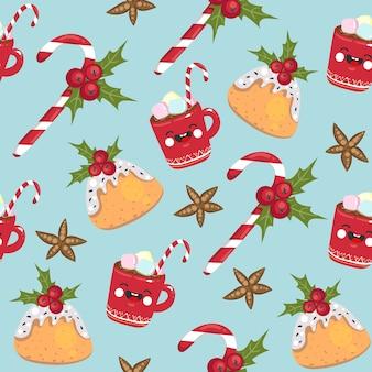 クリスマスのシームレスなパターンのキャンディー、マグカップ、ケーキ