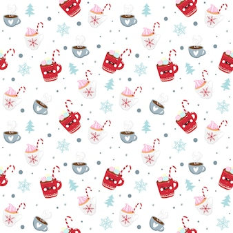 Christmas seamless pattern candy, mug and snowflake