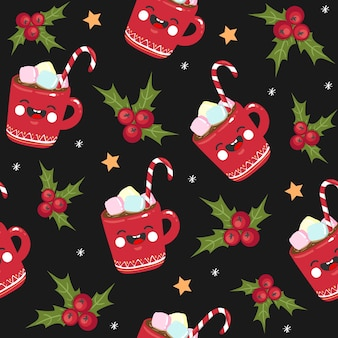 Christmas seamless pattern candy, mug