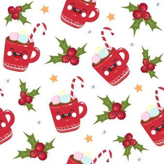 クリスマスのシームレスなパターンのキャンディー、マグカップ、