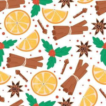Christmas seamless pattern. cinnamon, orange, clove, anise and mistletoe. winter holidays concept.