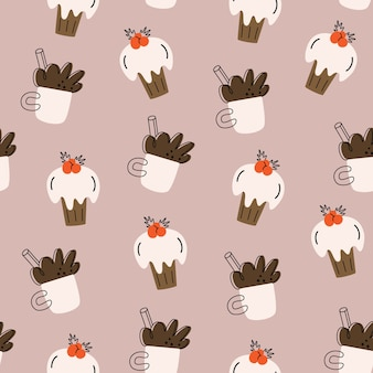 Christmas  seamless pattern. cocoa, cupcake. hand-drawn simple .