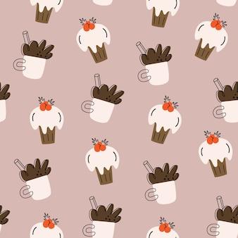 クリスマスのシームレスなパターン。ココア、カップケーキ。手描きシンプル。