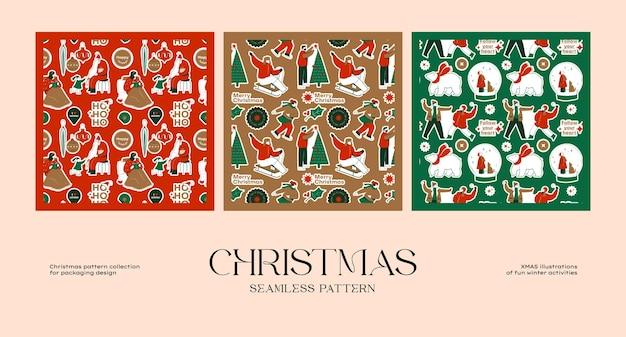 브랜드 아이덴티티 및 포장 디자인을 위한 크리스마스 원활한 패턴 컬렉션