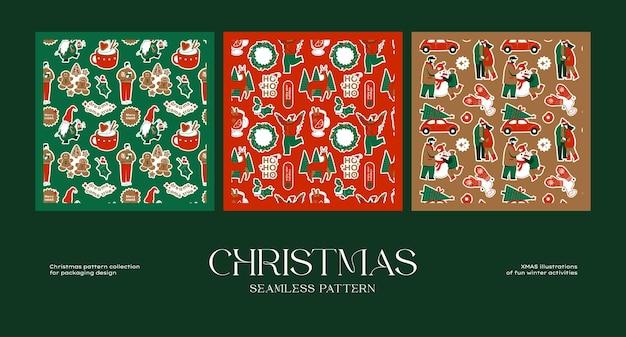 ブランドアイデンティティとパッケージデザインのためのクリスマスのシームレスなパターンコレクション