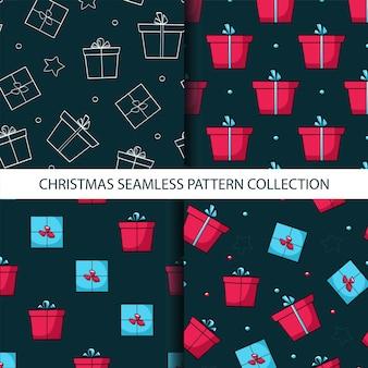 Рождественская коллекция бесшовные модели с подарочными коробками