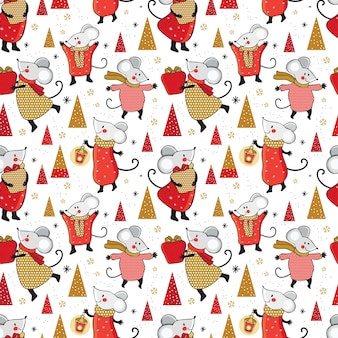 Christmas seamless pattern . cute cartoon mouse with gifts