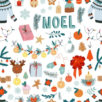 Christmas seamless pattern cute design elements on white background
