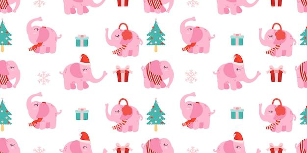 Рождественский бесшовный узор слона слона зима