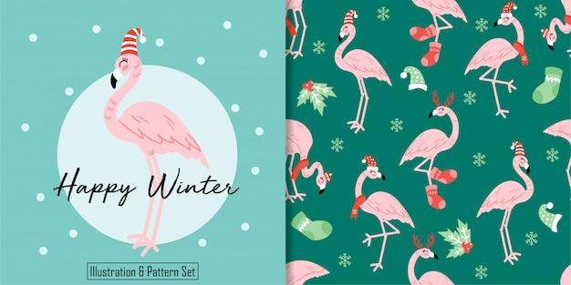 クリスマスシームレスパターンかわいいフラミンゴ冬