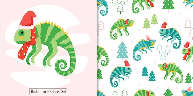 Christmas seamless pattern cute iguana winter