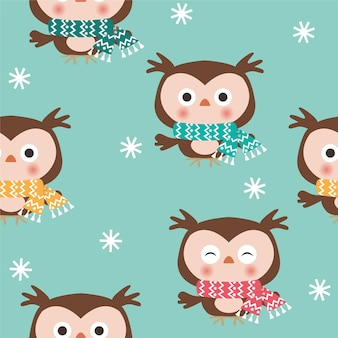 Christmas seamless pattern of cute owls whith scarfs on blue background.
