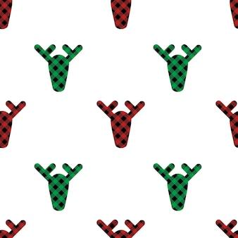 빨간색 녹색과 검은색의 버팔로 격자 무늬 장식이 있는 크리스마스 원활한 패턴 deers