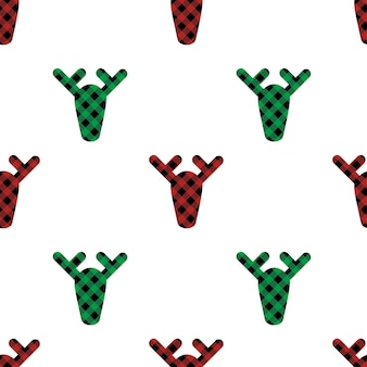 Christmas seamless pattern deers with buffalo plaid ornament in red green and black