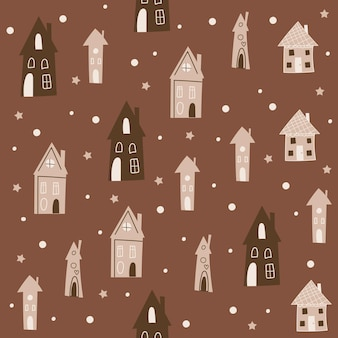 Christmas seamless pattern design with houses. vector illustration.