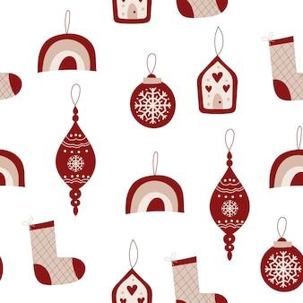 装飾品とクリスマスのシームレスなパターンデザイン。ベクトルイラスト。