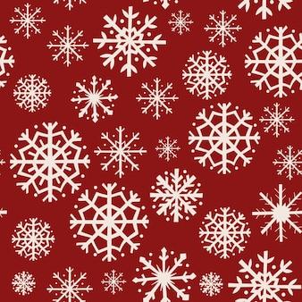 雪片とクリスマスのシームレスなパターンデザイン。ベクトルイラスト。