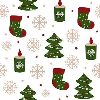 Рождественский фон с носками. векторная иллюстрация.