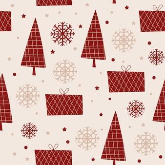 木と雪のクリスマスのシームレスなパターンデザイン。ベクトルイラスト。