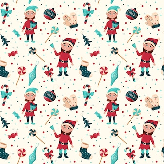 Рождественские бесшовные модели эльфийских девочек и рождественские игрушки, конфетные варежки, оберточная бумага, дизайн