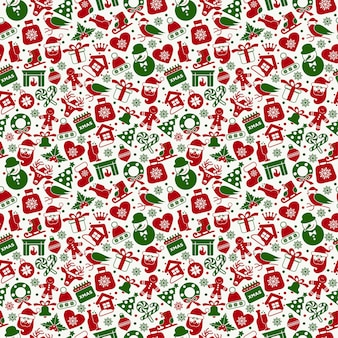 Christmas seamless pattern of flat ney years icons.