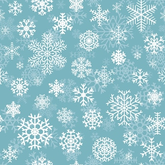 Christmas seamless pattern from white snowflakes on turquoise background