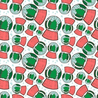 Christmas seamless pattern. hand drawn doodle sketch