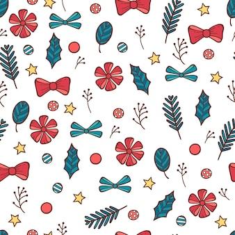クリスマスのシームレスなパターン。手描き落書きスタイル。