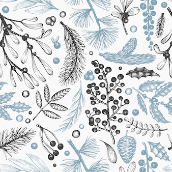 Christmas seamless pattern. hand drawn vector winter plants . coniferous, holly, mistletoe design