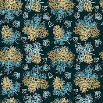 彫刻スタイルのクリスマスのシームレスなパターン針葉樹松ぼっくりとヴィンテージ植物の背景