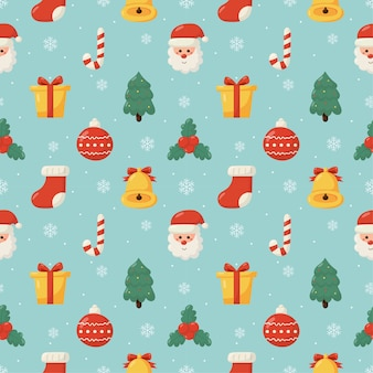 Christmas seamless pattern isolated on blue background.