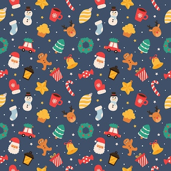 Christmas seamless pattern isolated on blue background