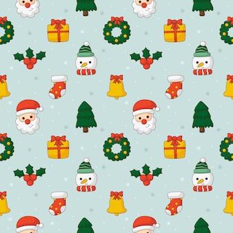 青い背景に分離されたクリスマスのシームレスなパターン