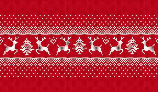 Рождественский фон. вяжем красный принт. векторная иллюстрация.