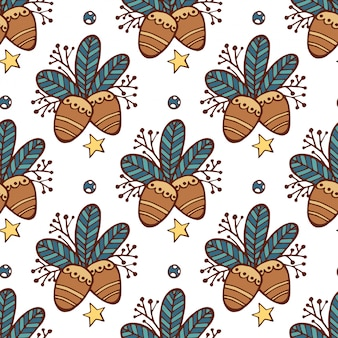 Christmas seamless pattern leaves, pine nuts