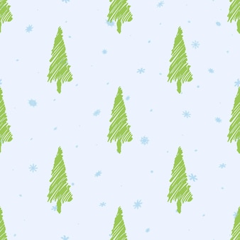 Christmas seamless pattern. light green christmas tree. blue snowflakes. light background. the minimalism. new year design. hand drawn. vector illustration.